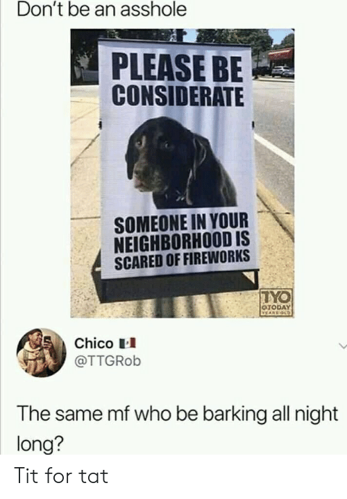 Fireworks, Old, and Who: Don't be an asshole  PLEASE BE  CONSIDERATE  SOMEONE IN YOUR  NEIGHBORHOOD IS  SCARED OF FIREWORKS  TYO  OTODAY  VEARS OLD  Chico  @TTGROB  The same mf who be barking all night  long? Tit for tat