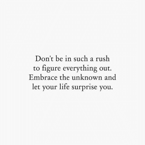 Life, Rush, and Unknown: Don't be in such a rush  figure everything out  Embrace the unknown and  to  let your life surprise you