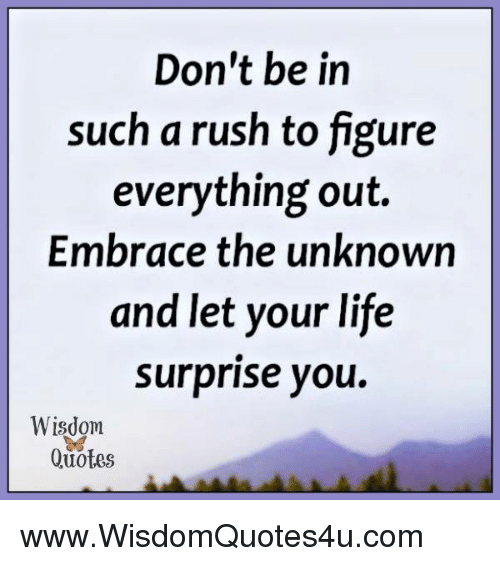 Dont Be In Such A Rush To Figure Everything Out Embrace The Unknown