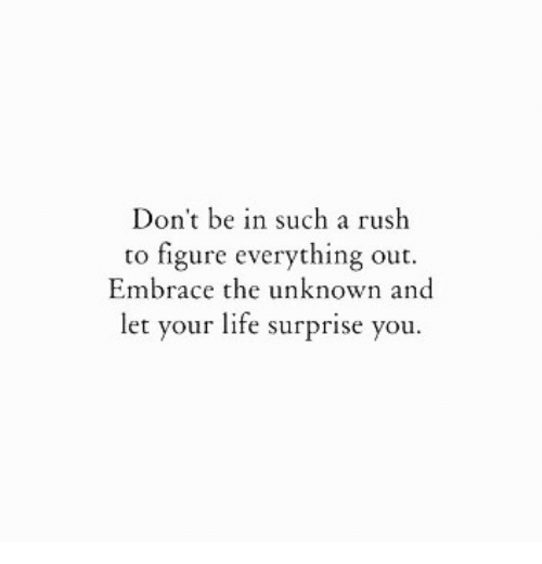 Life, Rush, and Unknown: Don't be in such a rush  to figure everything out.  Embrace the unknown and  let your life surprise you