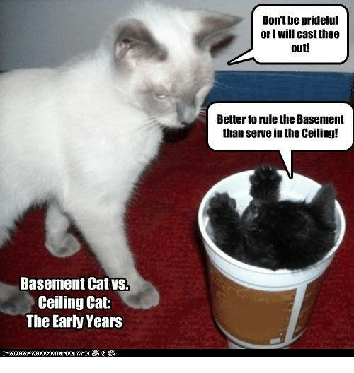 Memes ? and Cat Donu0027t be prideful or I will cast  sc 1 st  Me.me & Donu0027t Be Prideful or I Will Cast Thee Out! Better to Rule the ...