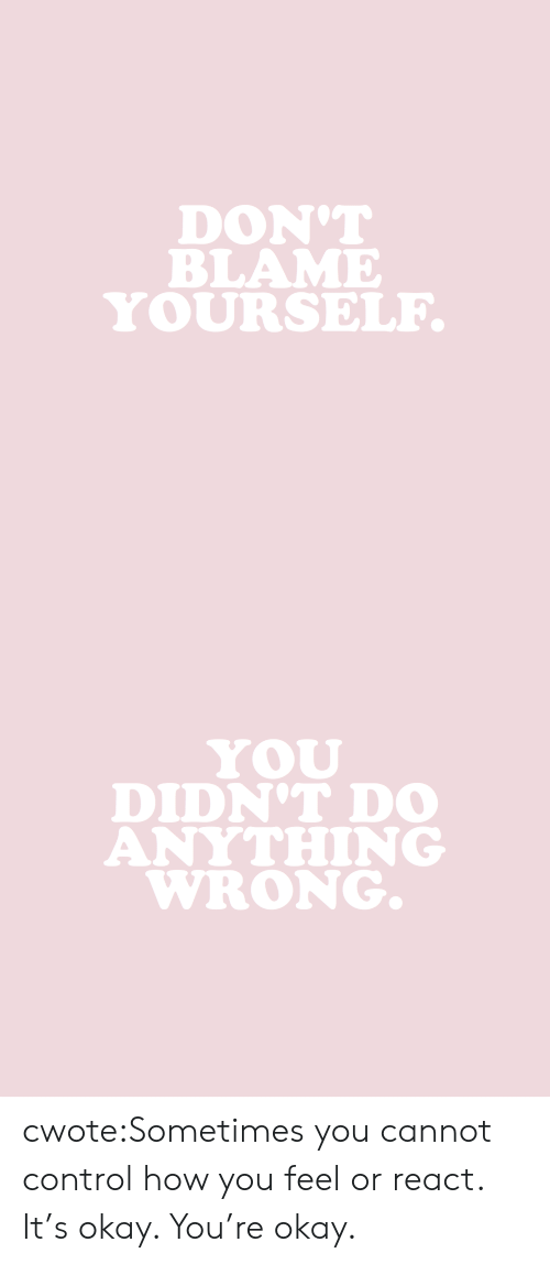 Target, Tumblr, and Control: DON'T  BLAME  YOURSELF   DIDN'T DO  ANYTHING  WRONG. cwote:Sometimes you cannot control how you feel or react. It's okay. You're okay.