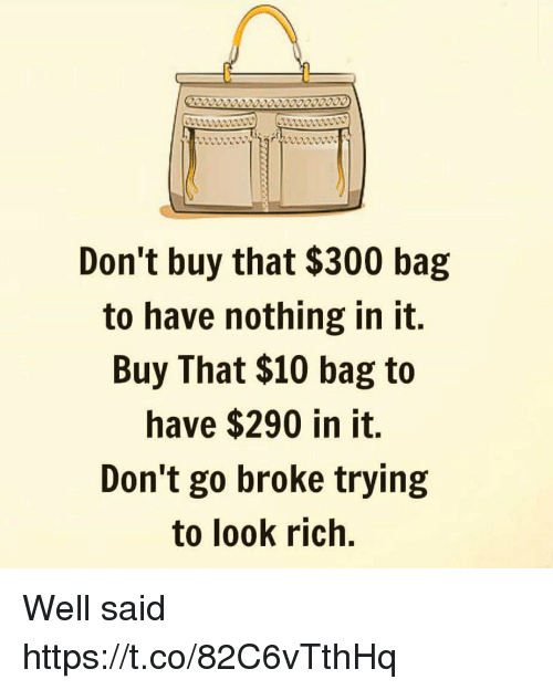 Memes, 🤖, and Rich: Don't buy that $300 bag  to have nothing in it.  Buy That $10 bag to  have $290 in it.  Don't go broke trying  to look rich. Well said https://t.co/82C6vTthHq