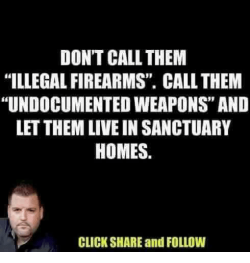 "Click, Memes, and Live: DON'T CALL THEM  ""ILLEGAL FIREARMS"" CALL THEM  ""UNDOCUMENTED WEAPONS"" AND  LET THEM LIVE IN SANCTUARY  HOMES.  CLICK SHARE and FOLLOW"