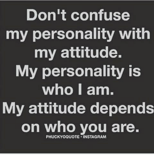 Don't Confuse My Personality With My Attitude My Personality