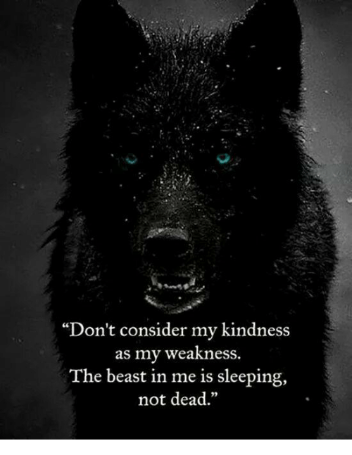 """Memes, Sleeping, and Kindness: """"Don't consider my kindness  as my weakness.  The beast in me is sleeping,  not dead"""