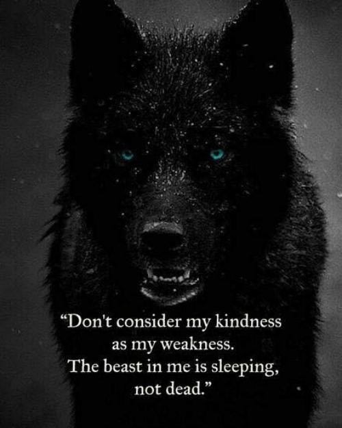 "Sleeping, Kindness, and Beast: ""Don't consider my kindness  as my weakness  The beast in me is sleeping,  not dead."""