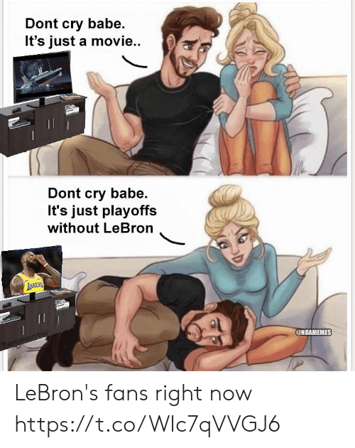 Memes, Lebron, and Movie: Dont cry babe.  It's just a movie..  Dont cry babe.  It's just playoffs  without LeBron  @NBAMEMES LeBron's fans right now https://t.co/WIc7qVVGJ6