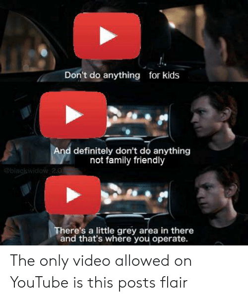 Definitely, Family, and youtube.com: Don't do anything for kids  And definitely don't do anything  not family friendly  biagkwidow 2.0  There's a little grey area in there  and that's where you operate. The only video allowed on YouTube is this posts flair
