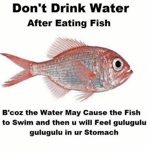 dont drink water after eating fish b coz the water 14522822 don't drink water after eating fish b coz the water may cause the