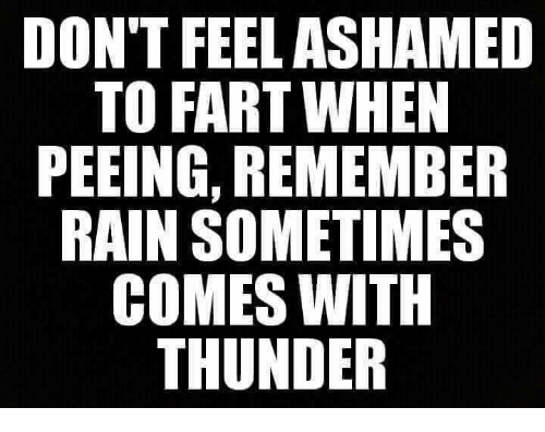 DON'T FEEL ASHAMED TO FART WHEN PEEING REMEMBER RAIN SOMETIMES COMES