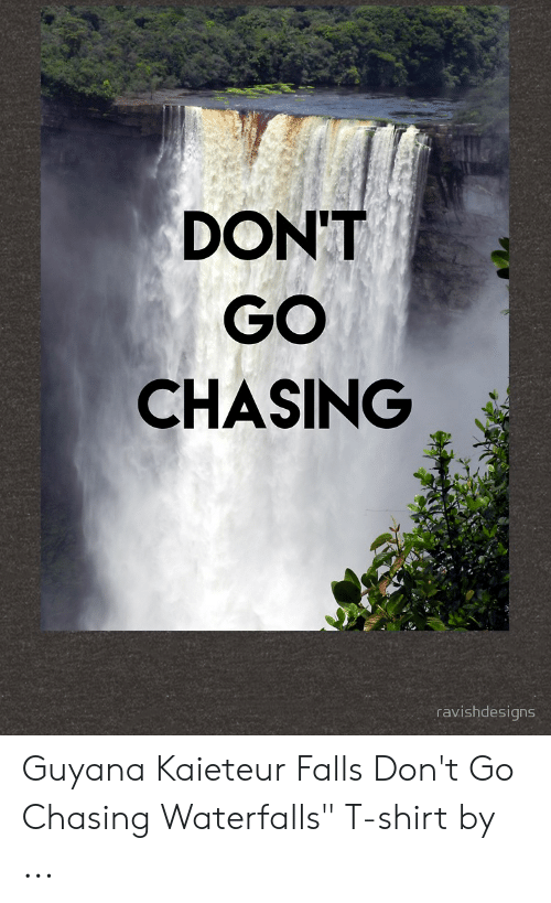 Don T Go Chasing Ravishdesigns Guyana Kaieteur Falls Don T Go Chasing Waterfalls T Shirt By Guyana Meme On Me Me