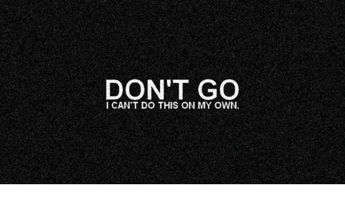 Own, This, and On My Own: DON'T GO  I CAN'T DO THIS ON MY OWN.