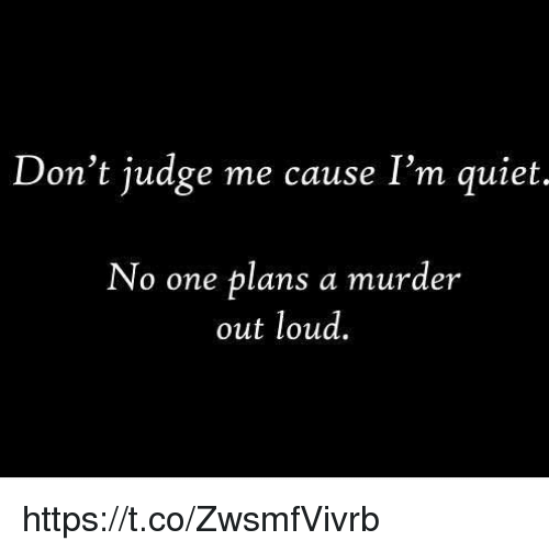 Memes, 🤖, and  Judging Me: Don't judge me cause I'm quiet.  No one plans a murder  out loud. https://t.co/ZwsmfVivrb