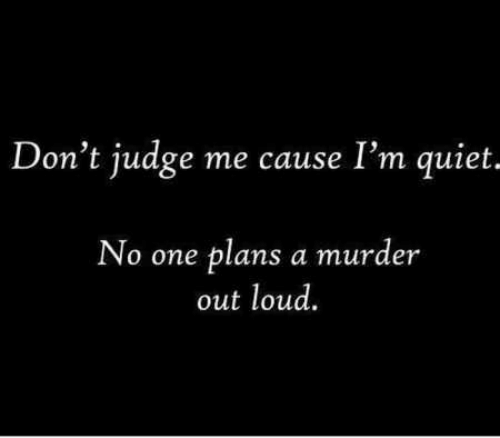 Quiet, Murder, and Judge: Don't judge me cause I'm quiet.  No one plans a murder  out loud.