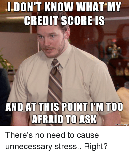 Credit Score, Credited, and Advice Animals: DONT KNOW WHAT MY  CREDIT SCORE S  AND AT THIS POINT IM TOO  AFRAID TO ASK  nmade There's no need to cause unnecessary stress.. Right?