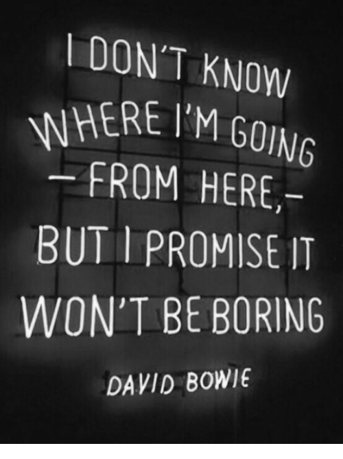 David Bowie, Bowie, and I Promise: DON'T KNOW  WHERE IM GOING  FROM HERE,-  BUT I PROMISE IT  WON'T BE BORING  DAVID BOWIE