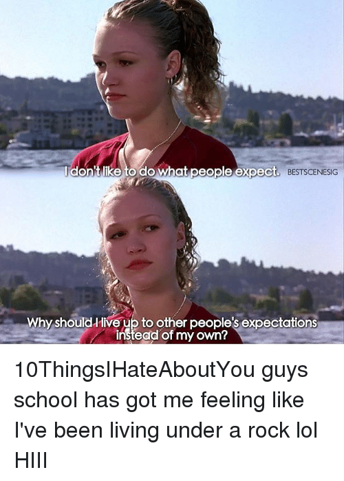 Memes, 🤖, and Rock: don't like to do what people expect. BEST  Why should live up to other expectations  instead my own? 10ThingsIHateAboutYou guys school has got me feeling like I've been living under a rock lol HIII
