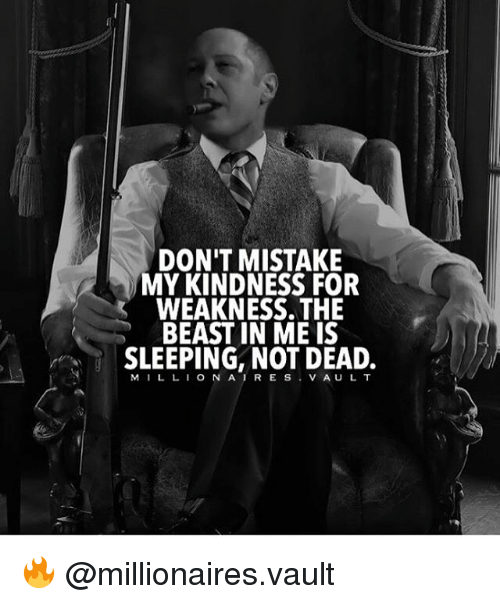 Memes, Lion, and Sleeping: DON'T MISTAKE  MY KINDNESS FOR  WEAKNESS. THE  BEAST IN ME IS  SLEEPING, NOT DEAD.  M I L LION A R E S  V A U L T 🔥 @millionaires.vault