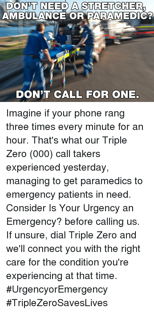 DON'T NEED a STRETCHER AMBULANCE OR PARAMEDIC? DON'T CALL