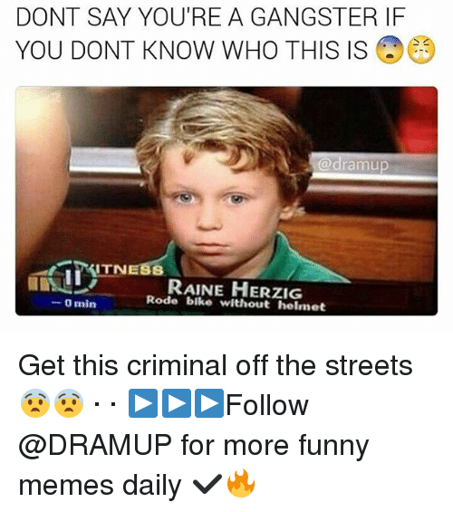 Memes, 🤖, and Helmet: DONT SAY YOU'RE A GANGSTER IF  YOU DONT KNOW WHO THIS IS  (a dramu  ITN  RAINE HERZIG  Rode bike without helmet  0 min Get this criminal off the streets 😨😨 · · ▶▶▶Follow @DRAMUP for more funny memes daily ✔🔥