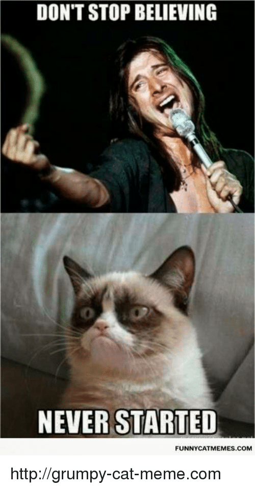 Don T Stop Believing Never Started Funny Cat Memes Com Httpgrumpy Cat Memecom Don T Stop Believing Meme On Me Me
