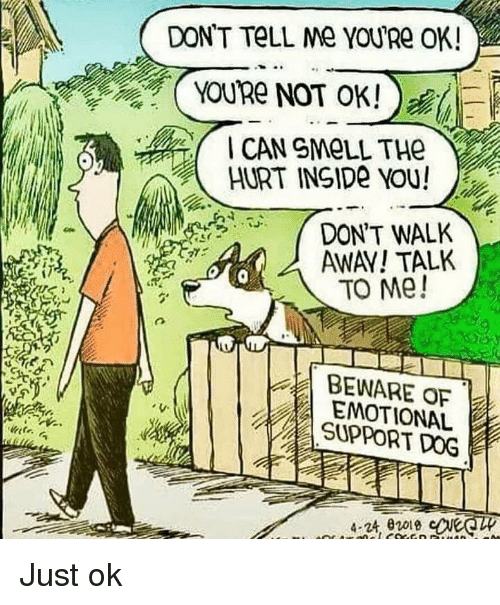 Smell, Dog, and Can: DONT TeLL Me YOURe OK!  YOURe NOT OK!)  CAN SMeLL THe  HURT INSIDe YOU!  DON'T WALK  AWAY! TALK  TO Me!  BEWARE OF  EMOTIONAL  SUPPORT DOG  4-24,02018 Just ok