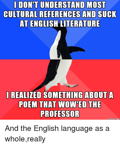 English, Language, and English Language: |DON'T UNDERSTAND MOST  CULTURAL  REFERENCES AND SUCK  AT ENGLISH LITERATURE  I REALIZED SOMETHING ABOUT A  POEM THAT WOWED THE  PROFESSOR  made on imaur And the English language as a whole,really