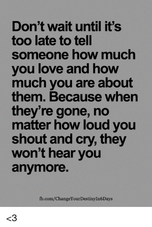 Dont Wait Until Its Too Late To Tell Someone How Much You Love And