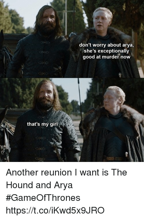 Memes, The Hound, and Girl: don't worry about arya,  she's exceptionally  good at murder now  that's my girl Another reunion I want is The Hound and Arya #GameOfThrones https://t.co/iKwd5x9JRO
