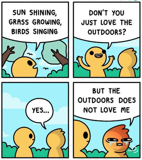 Love, Singing, and Birds: DON'T YOU  JUST LOVE THE  OUTDOORS?  SUN SHINING,  GRASS GROWING,  BIRDS SINGING  BUT THE  OUTDOORS DOES  NOT LOVE ME  YES...
