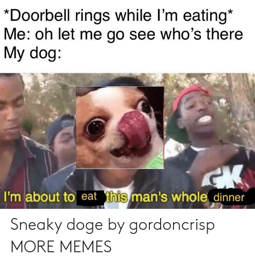 Dank, Doge, and Memes: *Doorbell rings while l'm eating*  Me: oh let me go see who's there  My dog  I'm about to eat t  this  man's whole dinner Sneaky doge by gordoncrisp MORE MEMES