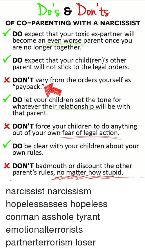 Ex's, Memes, and Narcissism: Do's s Don'ts OF CO-PARENTING