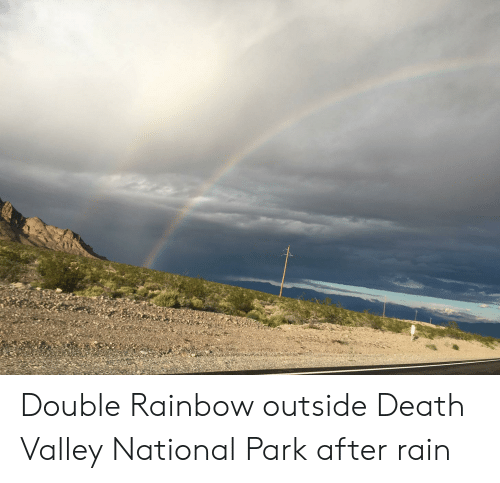 Double Rainbow Outside Death Valley National Park After Rain