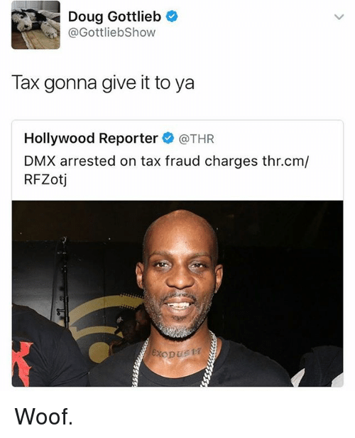 Dmx, Doug, and Memes: Doug Gottlieb  @GottliebShow  Tax gonna give it to ya  Hollywood Reporter @THR  DMX arrested on tax fraud charges thr.cm/  RFZotj Woof.