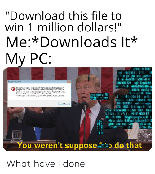 "Run, Windows, and Dank Memes: ""Download this file to  win 1 million dollars!""  Me:*Downloads It*  My PC:  7798 3 219  SignalVu-PC Error  88: 481 721  Sol88  Error ǐ722.There is a problem with this Windows Installer package. A  progrem run as pat of the setup did not finish as expected. Contact  3150h ddi 0  support personnel or package vendor. Action RegisterSidewinder,  lecation: CAProgram FilesTektroniSignalVu-PC, command:  /register  60017  eags  OK  1347  You weren't suppose  do that What have I done"