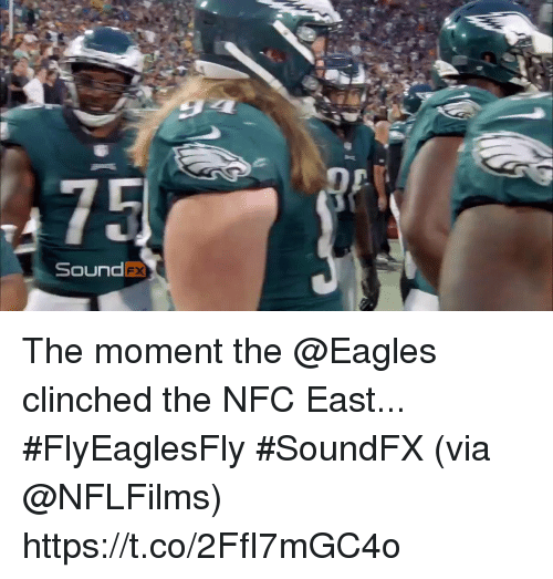 Philadelphia Eagles, Memes, and 🤖: DP  SoundFx The moment the @Eagles clinched the NFC East... #FlyEaglesFly #SoundFX  (via @NFLFilms) https://t.co/2FfI7mGC4o