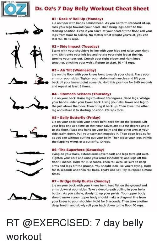 Dr Oz S 7 Day Belly Workout Cheat Sheet 1 Rock N Roll Up