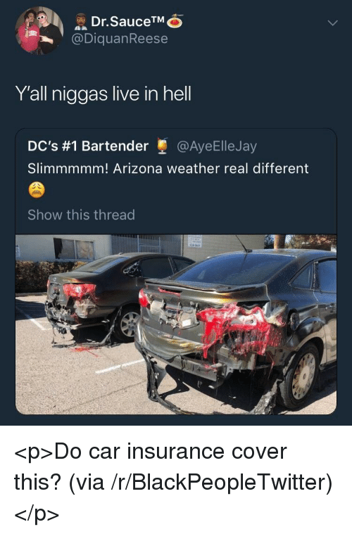 Blackpeopletwitter, Arizona, and Live: Dr.SauceTM  @DiquanReese  Y'all niggas live in hel  DC's #1 Bartender @AyeElleJay  Slimmmmm! Arizona weather real different  Show this thread <p>Do car insurance cover this? (via /r/BlackPeopleTwitter)</p>