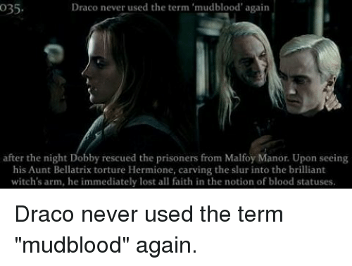 Draco Never Used the Term Mudblood' Again O35 After the