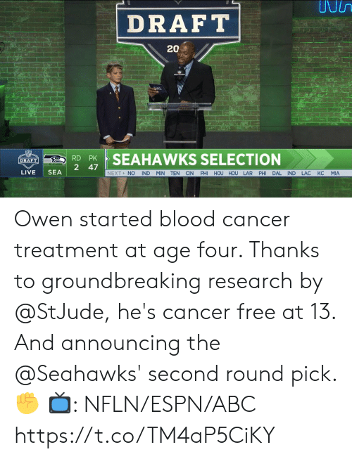 Abc, Espn, and Memes: DRAFT  202  RSEAHAWKS SELECTION  2 47  LIVE SEA  NEXT> NO IND MIN TEN CIN PHI HOU HOU LAR PHI DAL IND LAC KC MIA Owen started blood cancer treatment at age four. Thanks to groundbreaking research by @StJude, he's cancer free at 13.  And announcing the @Seahawks' second round pick. ✊  📺: NFLN/ESPN/ABC https://t.co/TM4aP5CiKY