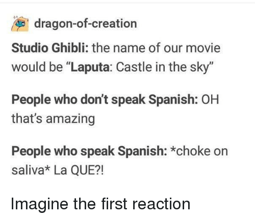 """Spanish, Movie, and Amazing: dragon-of-creation  Studio Ghibli: the name of our movie  would be """"Laputa: Castle in the sky""""  People who don't speak Spanish: OH  that's amazing  People who speak Spanish: *choke on  saliva* La QUE?! Imagine the first reaction"""