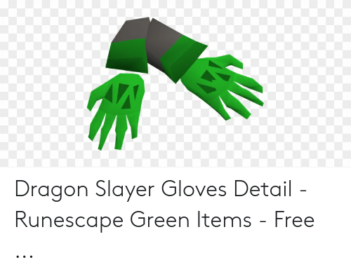 Dragon Slayer Gloves Detail - Runescape Green Items - Free