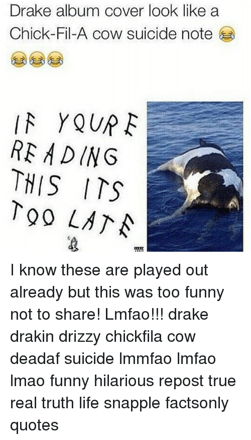 Drake Album Cover Look Like a Chick-Fil-A Cow Suicide Note ...