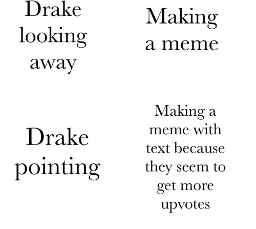Drake, Meme, and Text: Drake  looking  away  Making  a meme  Drakevet h  pointing they seem to  Making a  meme with  text because  get more  upvotes
