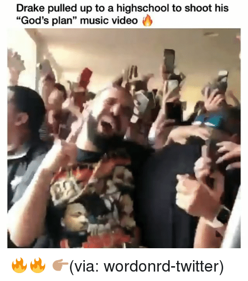 """Drake, Funny, and Music: Drake pulled up to a highschool to shoot his  """"God's plan"""" music video 🔥🔥 👉🏽(via: wordonrd-twitter)"""