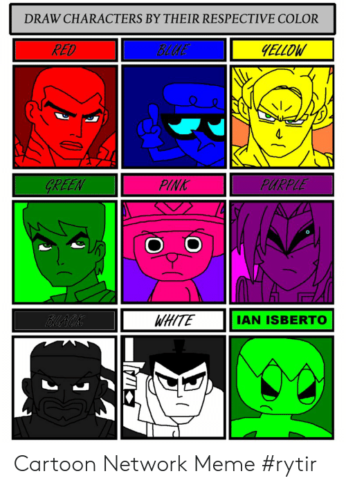 DRAW CHARACTERS BY THEIR RESPECTIVE COLOR RED BLUE ELLOW レ