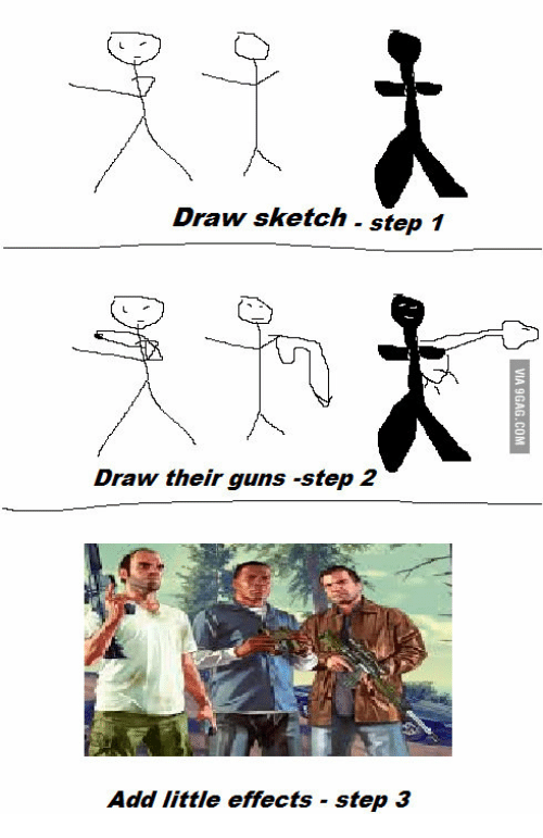 how to draw guns step by step