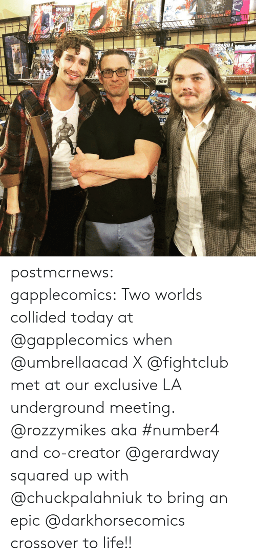 Instagram, Life, and Tumblr: Dreami  NEW postmcrnews: gapplecomics: Two worlds collided today at @gapplecomics when @umbrellaacad X @fightclub met at our exclusive LA underground meeting. @rozzymikes aka #number4 and co-creator @gerardway squared up with @chuckpalahniuk to bring an epic @darkhorsecomics​ crossover to life!!