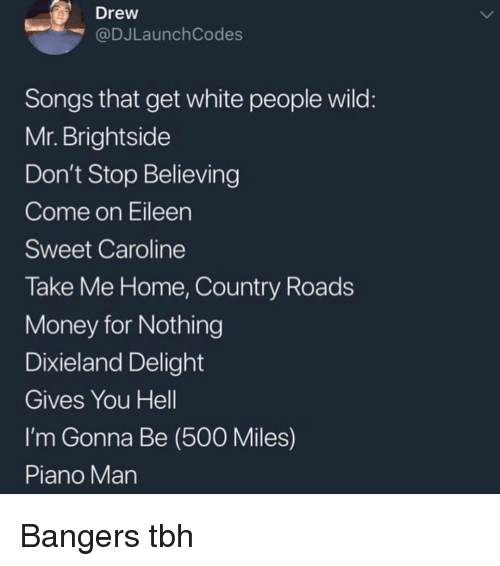 Don't Stop Believing, Money, and Tbh: Drew  @DJLaunch Codes  Songs that get white people wild  Mr. Brightside  Don't Stop Believing  Come on Eileen  Sweet Caroline  Take Me Home, Country Roads  Money for Nothing  Dixieland Delight  Gives You Hell  I'm Gonna Be (500 Miles)  Piano Man Bangers tbh